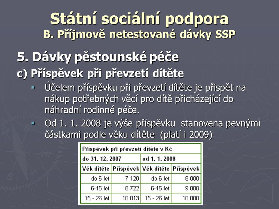 Státní sociální podpora B. Příjmově netestované dávky SSP 5. Dávky pěstounské péče c) Příspěvek při převzetí dítěte  Účelem příspěvku při převzetí dí