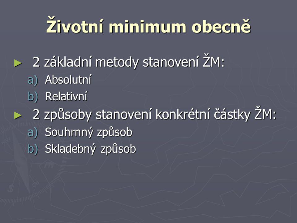 Životní minimum obecně ► 2 základní metody stanovení ŽM: a)Absolutní b)Relativní ► 2 způsoby stanovení konkrétní částky ŽM: a)Souhrnný způsob b)Sklade