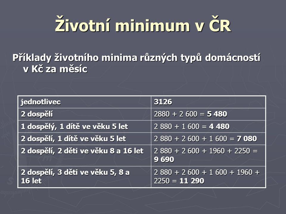 Životní minimum v ČR Příklady životního minima různých typů domácností v Kč za měsíc jednotlivec3126 2 dospělí 2880 + 2 600 = 5 480 1 dospělý, 1 dítě