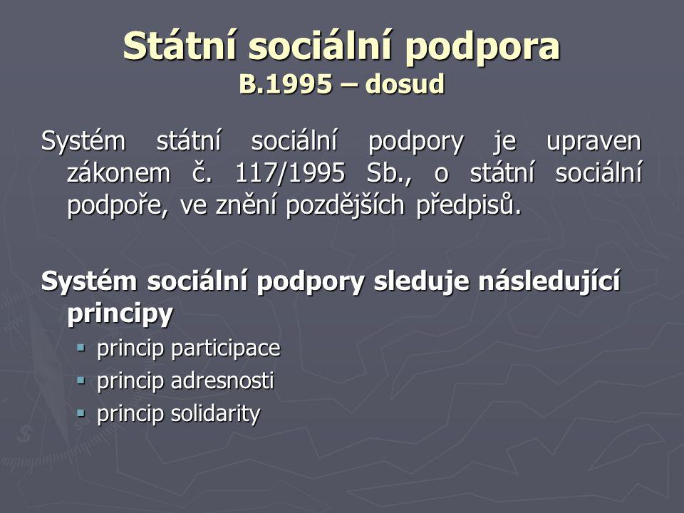 Státní sociální podpora Dávky státní sociální podpory (1995 – dosud) Systém rozlišuje dva druhy dávek (MPSV, 2006): ► dávky poskytované v závislosti na příjmu (vertikální)- testované:  přídavek na dítě,  sociální příplatek,  příspěvek na bydlení ► dávky poskytované bez ohledu na výši příjmu (horizontální) - netestované:  rodičovský příspěvek,  dávky pěstounské péče,  porodné  pohřebné.