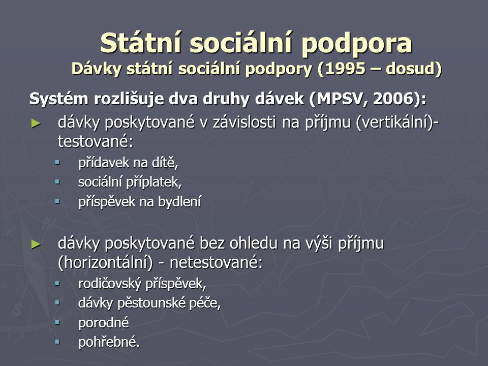 Státní sociální podpora Dávky státní sociální podpory (1995 – dosud) Systém rozlišuje dva druhy dávek (MPSV, 2006): ► dávky poskytované v závislosti n