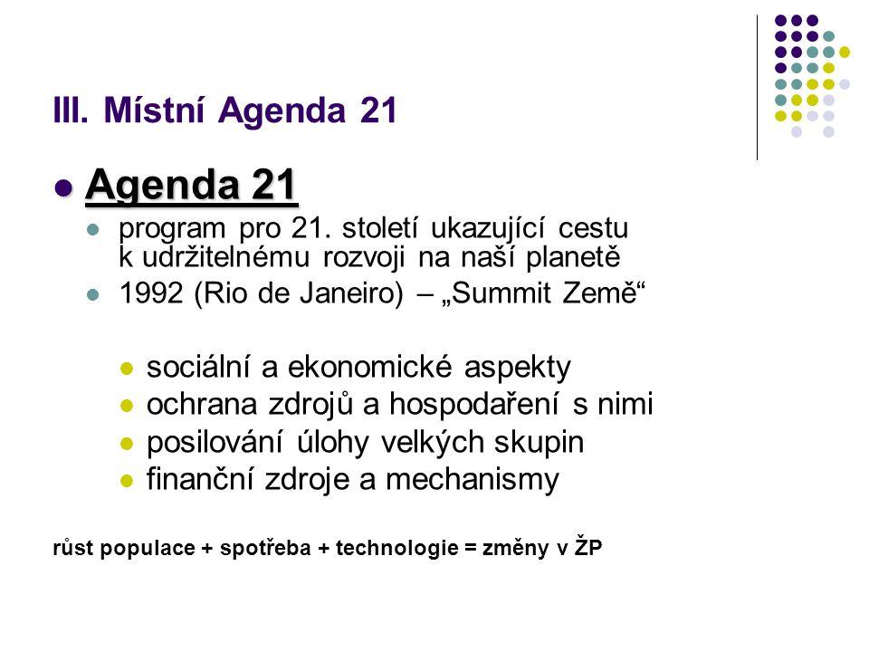 III. Místní Agenda 21 Agenda 21 Agenda 21 program pro 21.
