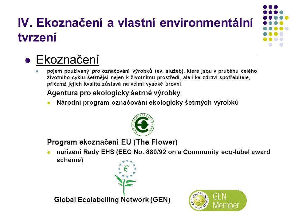 IV. Ekoznačení a vlastní environmentální tvrzení Ekoznačení pojem používaný pro označování výrobků (ev. služeb), které jsou v průběhu celého životního