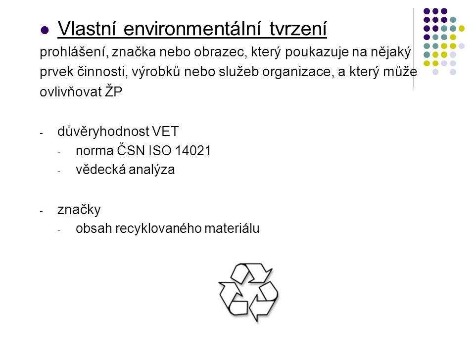 Vlastní environmentální tvrzení prohlášení, značka nebo obrazec, který poukazuje na nějaký prvek činnosti, výrobků nebo služeb organizace, a který může ovlivňovat ŽP - důvěryhodnost VET - norma ČSN ISO 14021 - vědecká analýza - značky - obsah recyklovaného materiálu