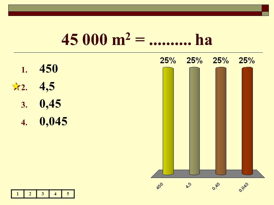 45 000 m 2 =.......... ha 12345 1. 450 2. 4,5 3. 0,45 4. 0,045