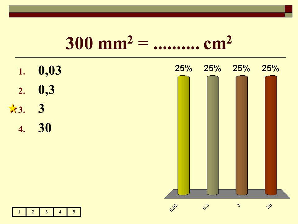 300 mm 2 =.......... cm 2 12345 1. 0,03 2. 0,3 3. 3 4. 30