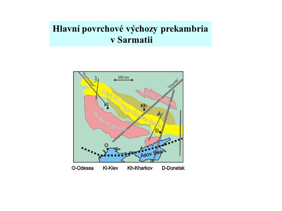 Hlavní povrchové výchozy prekambria v Sarmatii