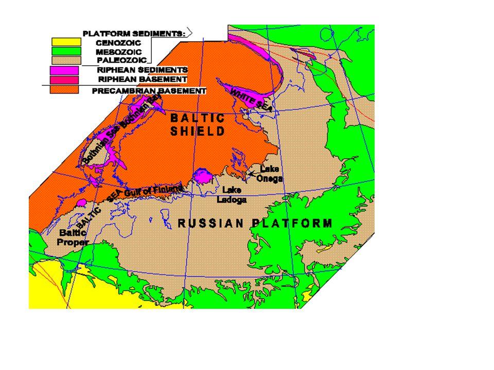 Východoevropský kraton se člení na Fennoscandii – tvořena baltickým štítem a přilehlou platformou Sarmatii Volžsko.-uralskou oblast