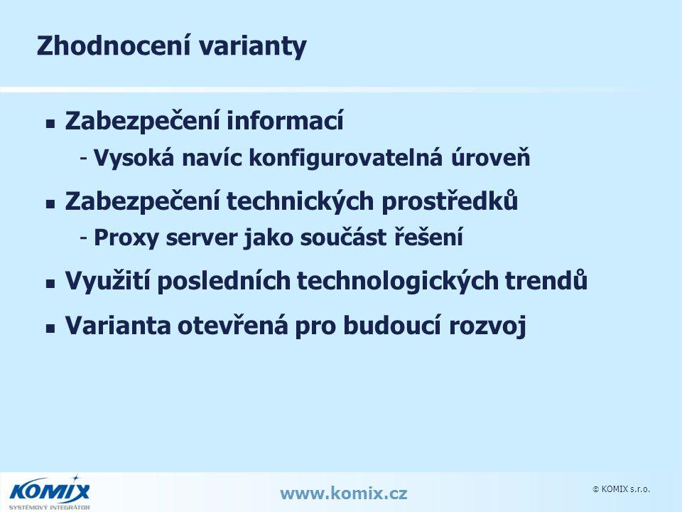  KOMIX s.r.o. www.komix.cz Zhodnocení varianty Zabezpečení informací -Vysoká navíc konfigurovatelná úroveň Zabezpečení technických prostředků -Proxy