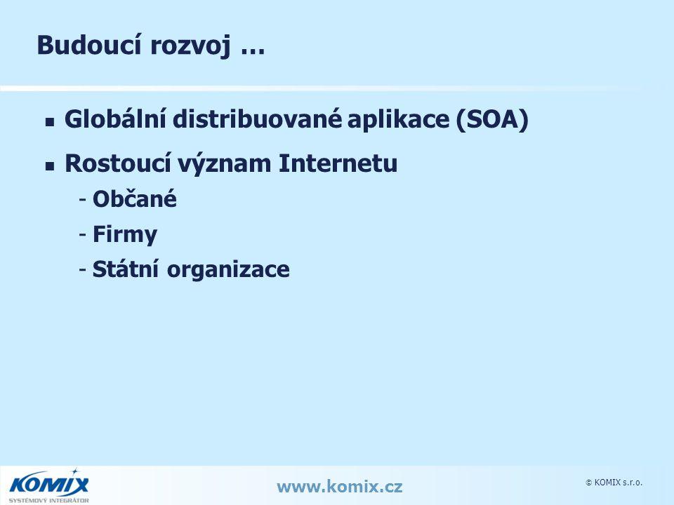  KOMIX s.r.o. www.komix.cz Budoucí rozvoj … Globální distribuované aplikace (SOA) Rostoucí význam Internetu -Občané -Firmy -Státní organizace