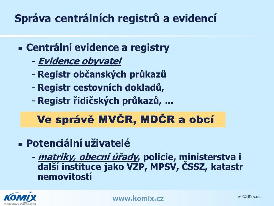  KOMIX s.r.o. www.komix.cz Správa centrálních registrů a evidencí Centrální evidence a registry -Evidence obyvatel -Registr občanských průkazů -Regis