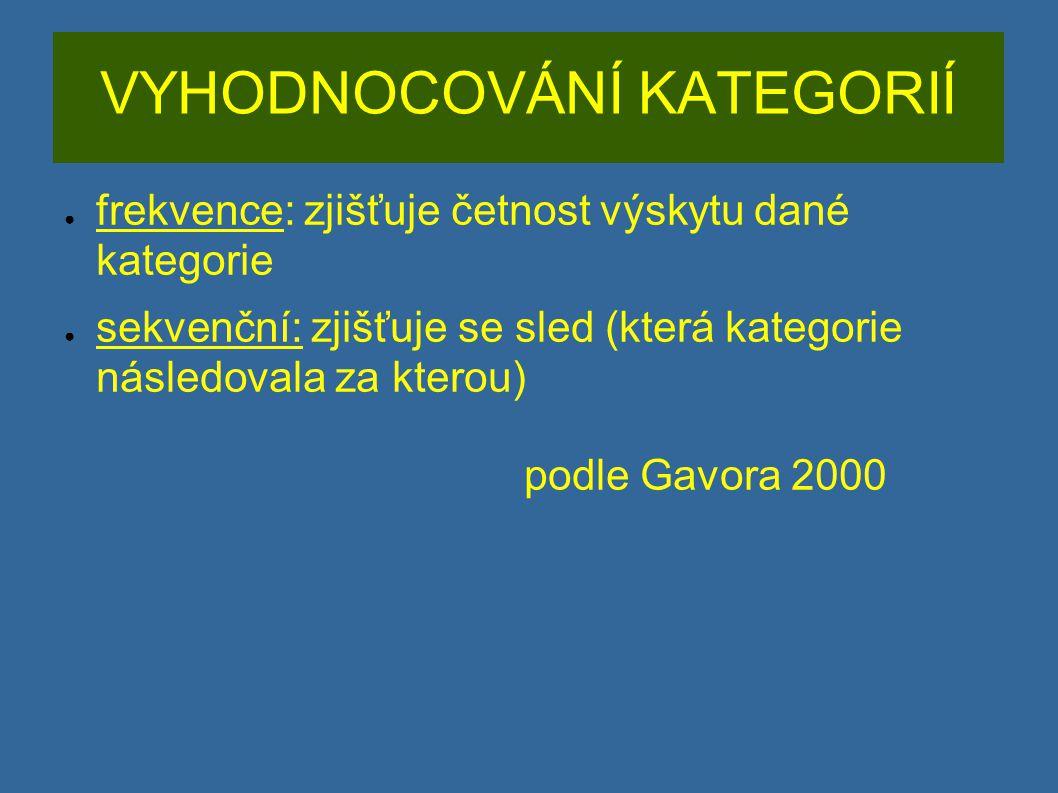 VYHODNOCOVÁNÍ KATEGORIÍ ● frekvence: zjišťuje četnost výskytu dané kategorie ● sekvenční: zjišťuje se sled (která kategorie následovala za kterou) pod