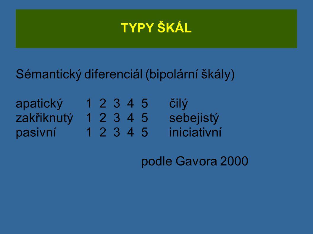 TYPY ŠKÁL Sémantický diferenciál (bipolární škály) apatický12345 čilý zakřiknutý12345sebejistý pasivní1 2345iniciativní podle Gavora 2000