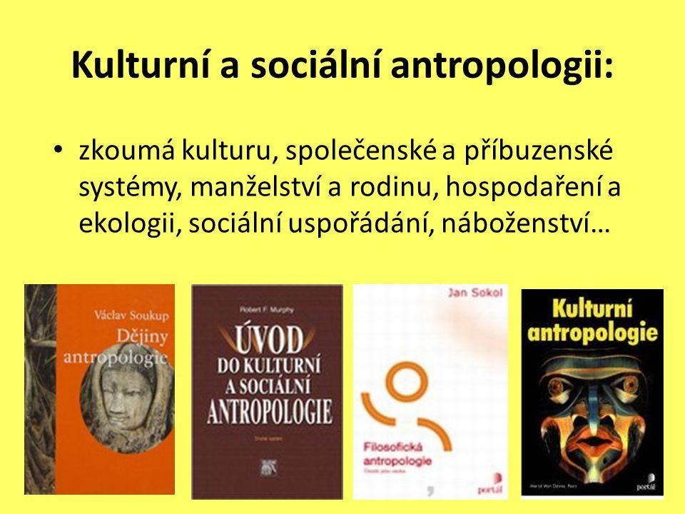 Kulturní a sociální antropologii: zkoumá kulturu, společenské a příbuzenské systémy, manželství a rodinu, hospodaření a ekologii, sociální uspořádání,