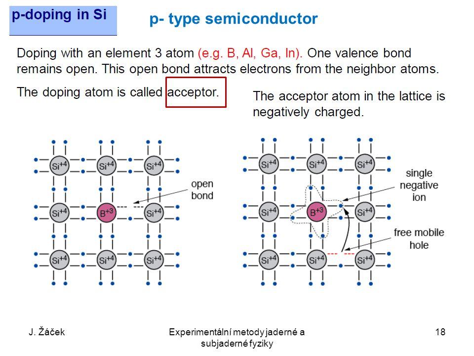 J. ŽáčekExperimentální metody jaderné a subjaderné fyziky 18 p- type semiconductor