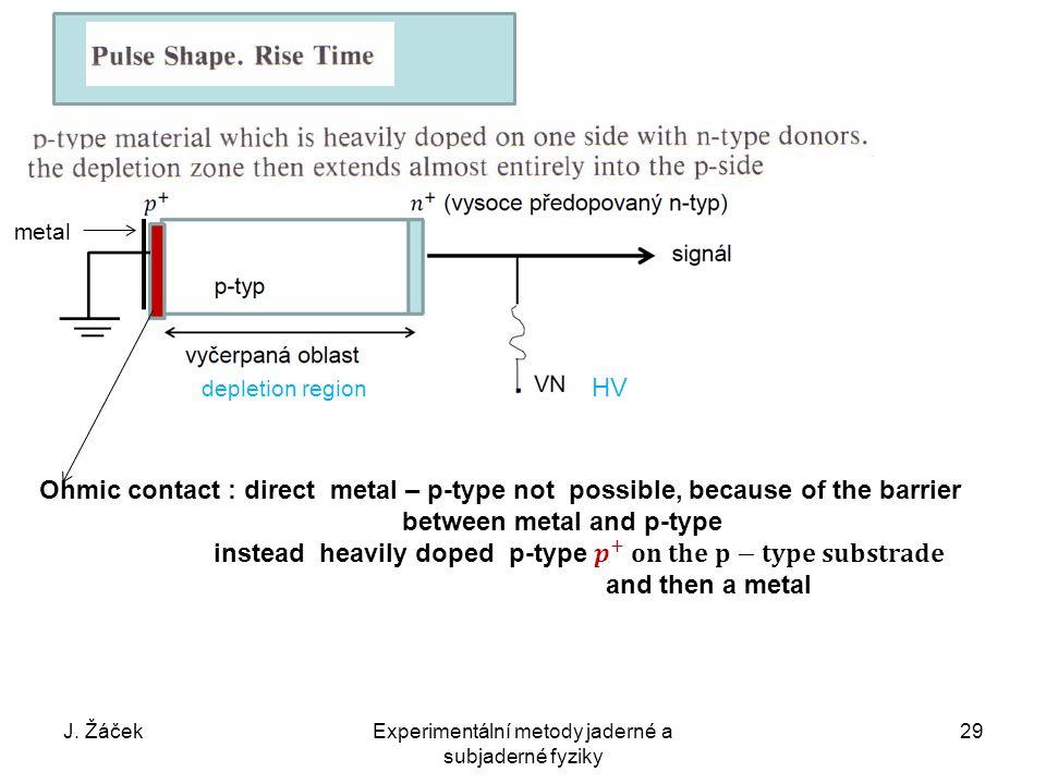 J. ŽáčekExperimentální metody jaderné a subjaderné fyziky 29 depletion region HV metal