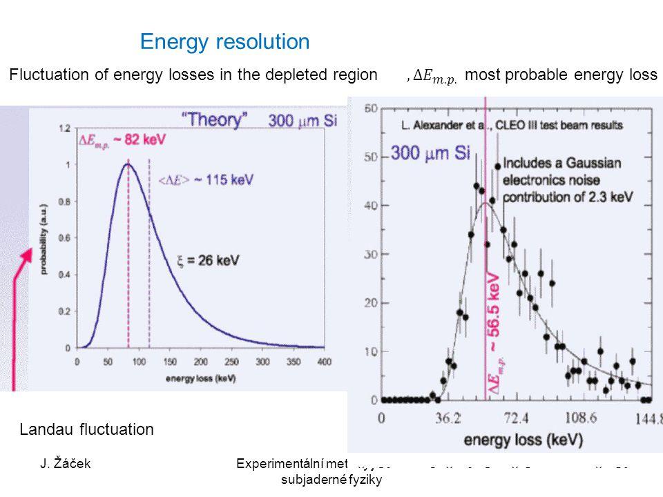 J. ŽáčekExperimentální metody jaderné a subjaderné fyziky 38 Energy resolution Fluctuation of energy losses in the depleted region Landau fluctuation