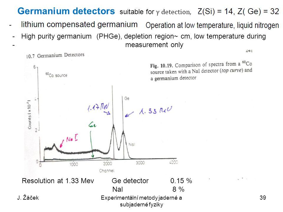 J. ŽáčekExperimentální metody jaderné a subjaderné fyziky 39 Germanium detectors suitable for γ detection, Resolution at 1.33 Mev Ge detector 0.15 % N