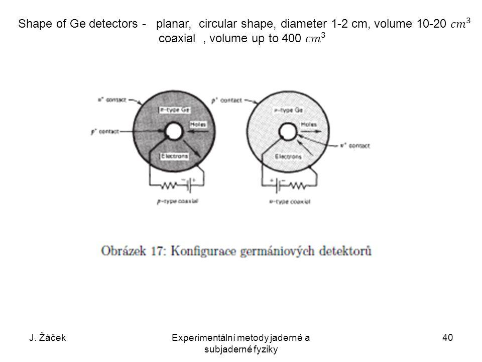 J. ŽáčekExperimentální metody jaderné a subjaderné fyziky 40