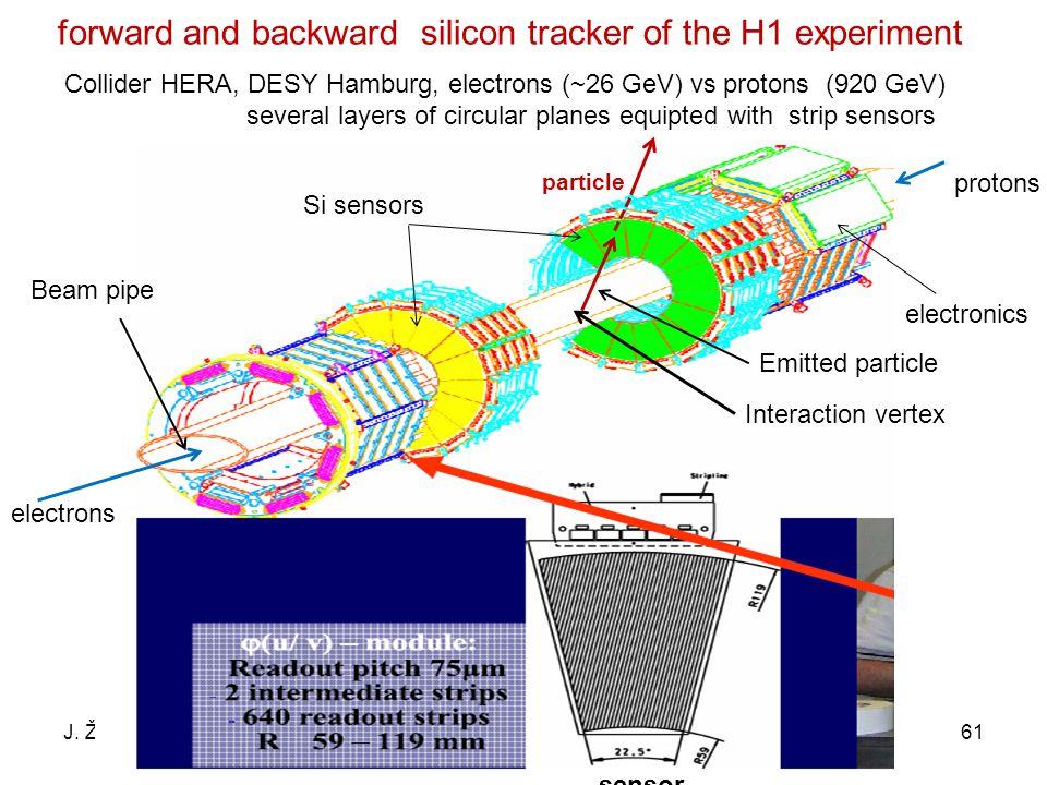 J. ŽáčekExperimentální metody jaderné a subjaderné fyziky 61 forward and backward silicon tracker of the H1 experiment Collider HERA, DESY Hamburg, el