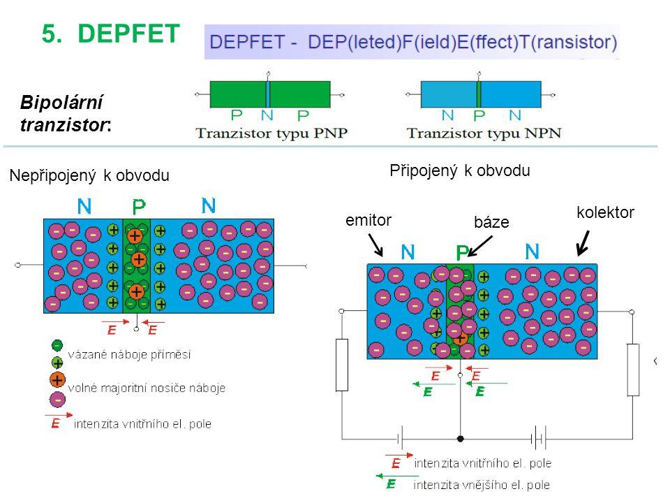 63 5. DEPFET Bipolární tranzistor: Nepřipojený k obvodu Připojený k obvodu emitor báze kolektor