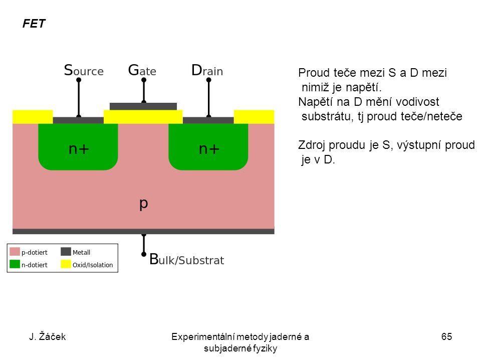 J. ŽáčekExperimentální metody jaderné a subjaderné fyziky 65 FET Proud teče mezi S a D mezi nimiž je napětí. Napětí na D mění vodivost substrátu, tj p