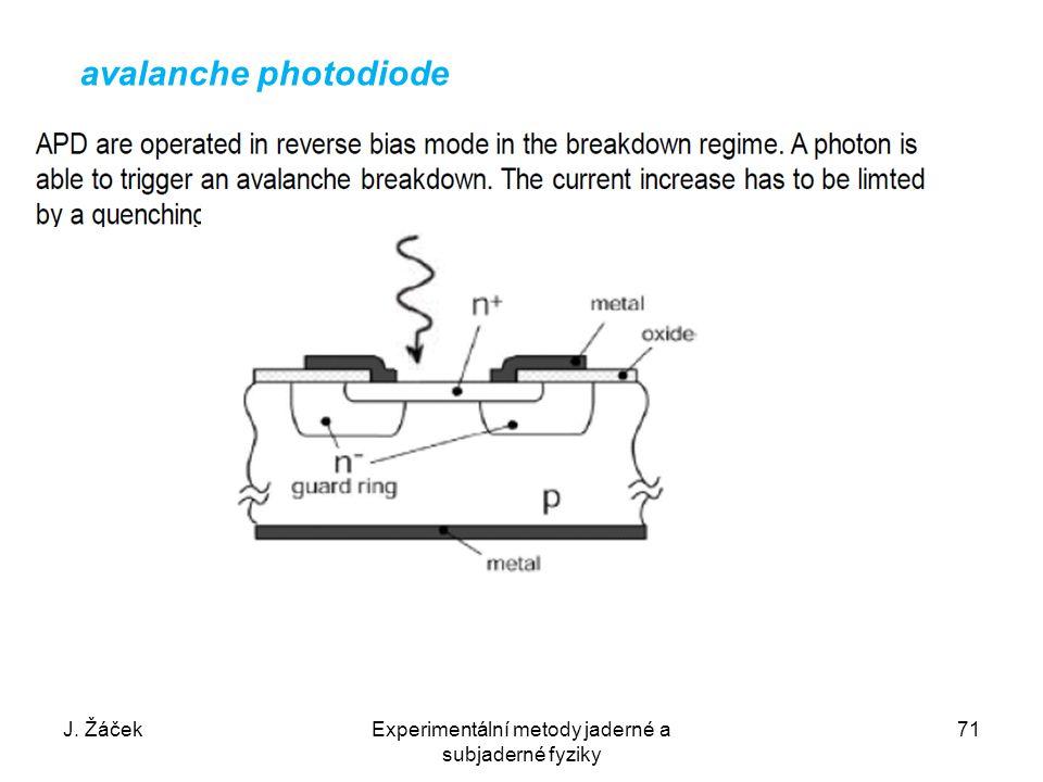 J. ŽáčekExperimentální metody jaderné a subjaderné fyziky 71 avalanche photodiode