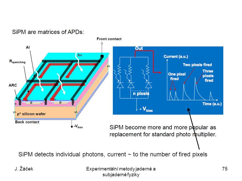 J. ŽáčekExperimentální metody jaderné a subjaderné fyziky 75 SiPM detects individual photons, current ~ to the number of fired pixels