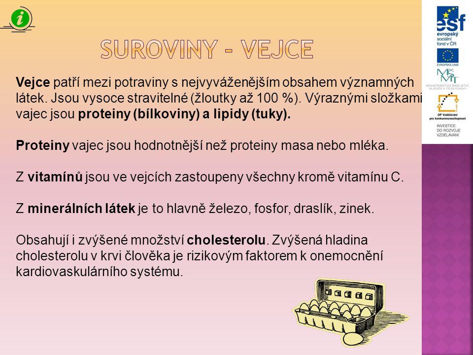 Vejce patří mezi potraviny s nejvyváženějším obsahem významných látek. Jsou vysoce stravitelné (žloutky až 100 %). Výraznými složkami vajec jsou prote