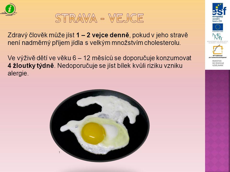 Zdravý člověk může jíst 1 – 2 vejce denně, pokud v jeho stravě není nadměrný příjem jídla s velkým množstvím cholesterolu. Ve výživě dětí ve věku 6 –