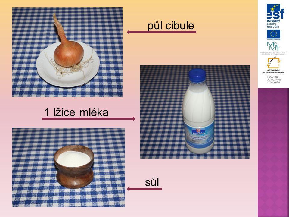 půl cibule 1 lžíce mléka sůl