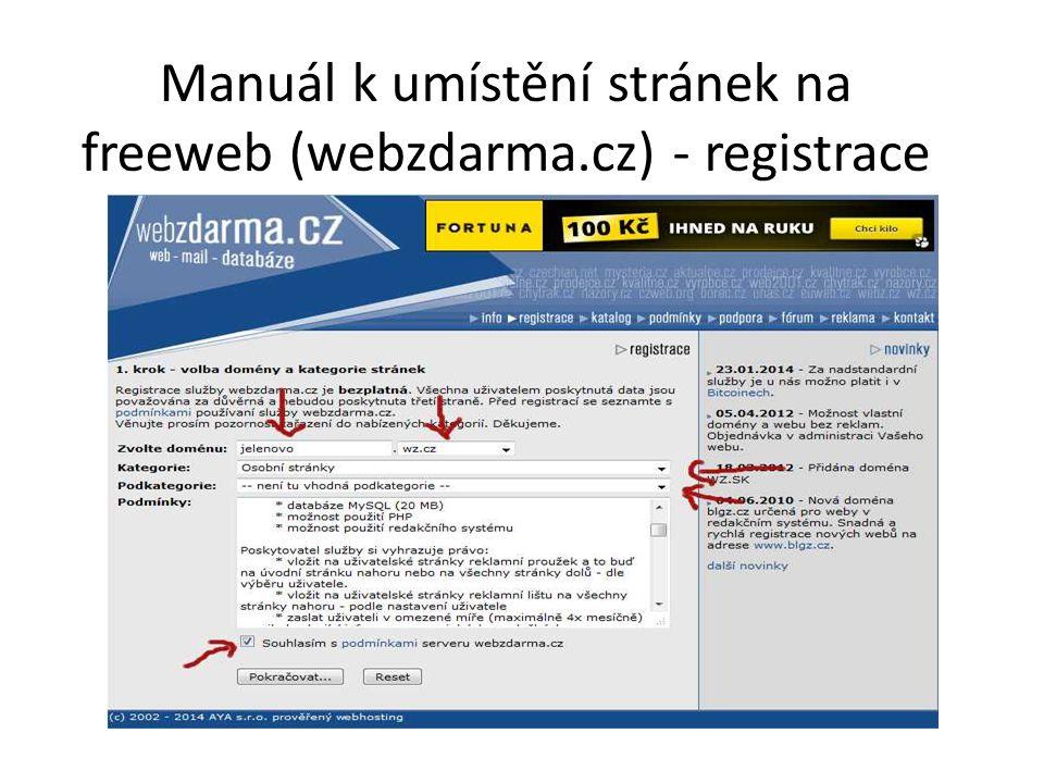 Manuál k umístění stránek na freeweb (webzdarma.cz) - registrace