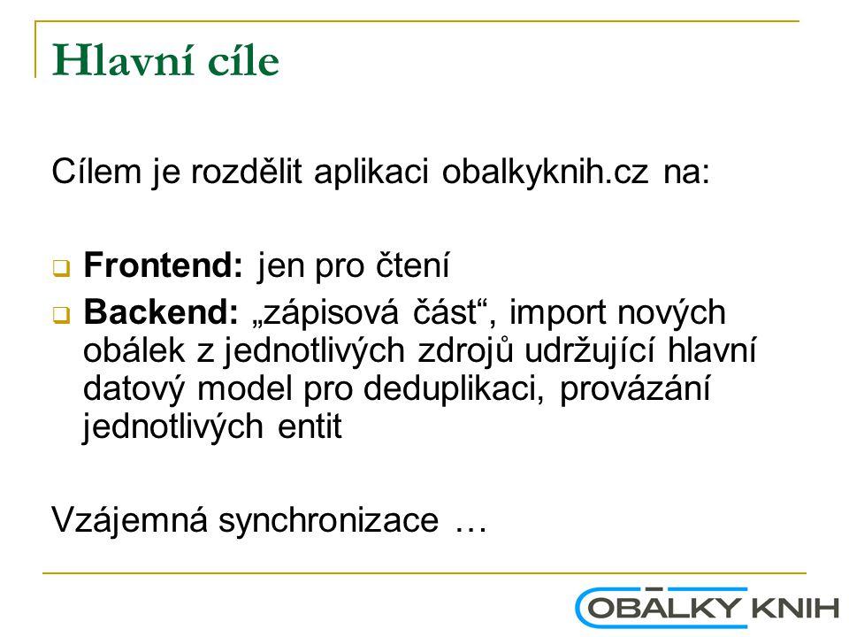 """Hlavní cíle Cílem je rozdělit aplikaci obalkyknih.cz na:  Frontend: jen pro čtení  Backend: """"zápisová část"""", import nových obálek z jednotlivých zdr"""