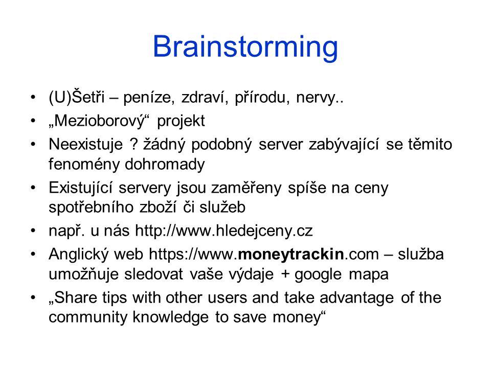 """Brainstorming (U)Šetři – peníze, zdraví, přírodu, nervy.. """"Mezioborový"""" projekt Neexistuje ? žádný podobný server zabývající se těmito fenomény dohrom"""