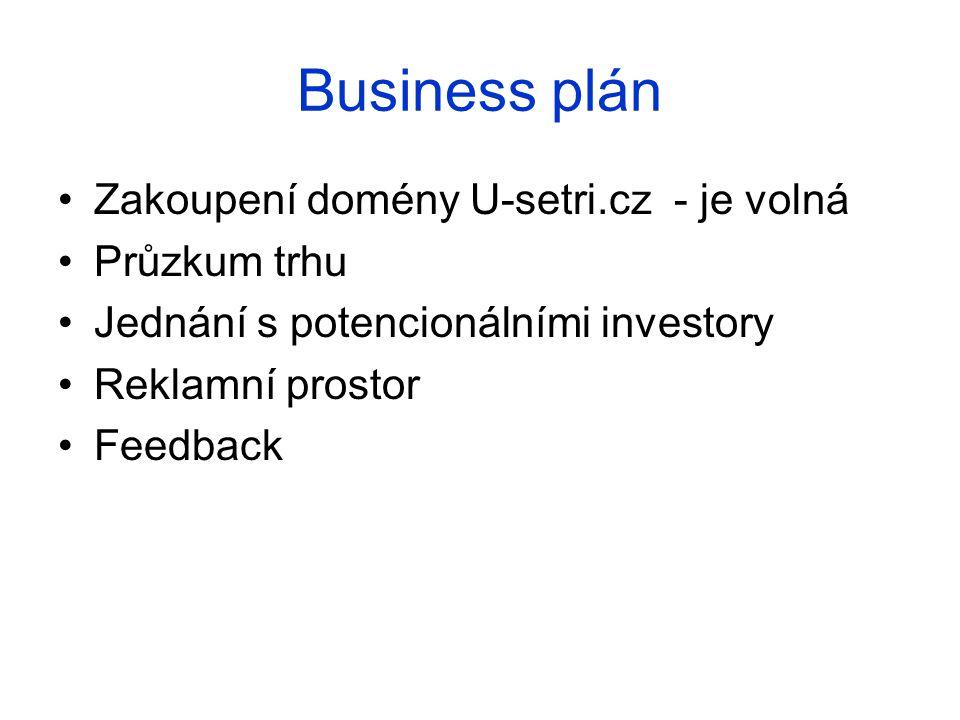 Business plán Zakoupení domény U-setri.cz - je volná Průzkum trhu Jednání s potencionálními investory Reklamní prostor Feedback