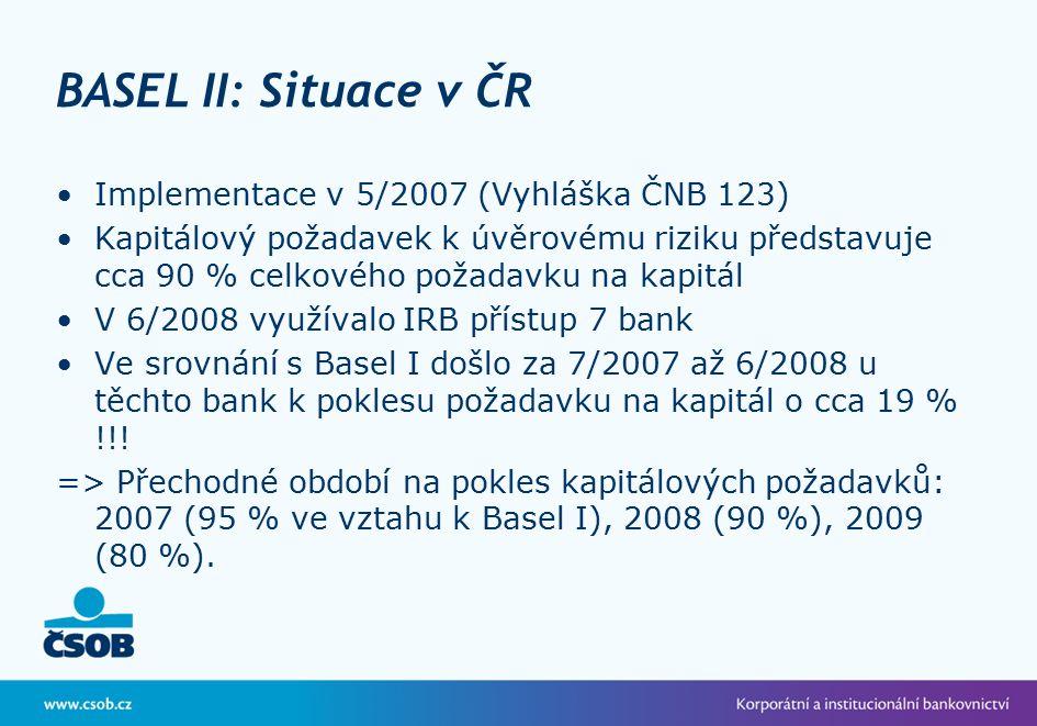 BASEL II: Situace v ČR Implementace v 5/2007 (Vyhláška ČNB 123) Kapitálový požadavek k úvěrovému riziku představuje cca 90 % celkového požadavku na kapitál V 6/2008 využívalo IRB přístup 7 bank Ve srovnání s Basel I došlo za 7/2007 až 6/2008 u těchto bank k poklesu požadavku na kapitál o cca 19 % !!.