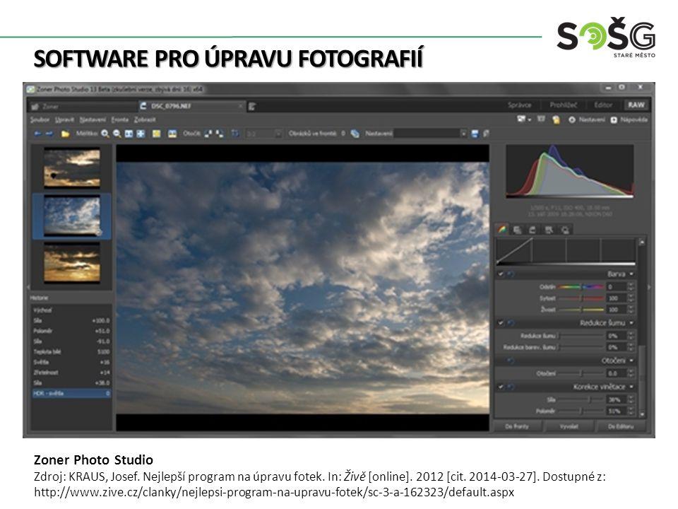 SOFTWARE PRO ÚPRAVU FOTOGRAFIÍ Zoner Photo Studio Zdroj: KRAUS, Josef.