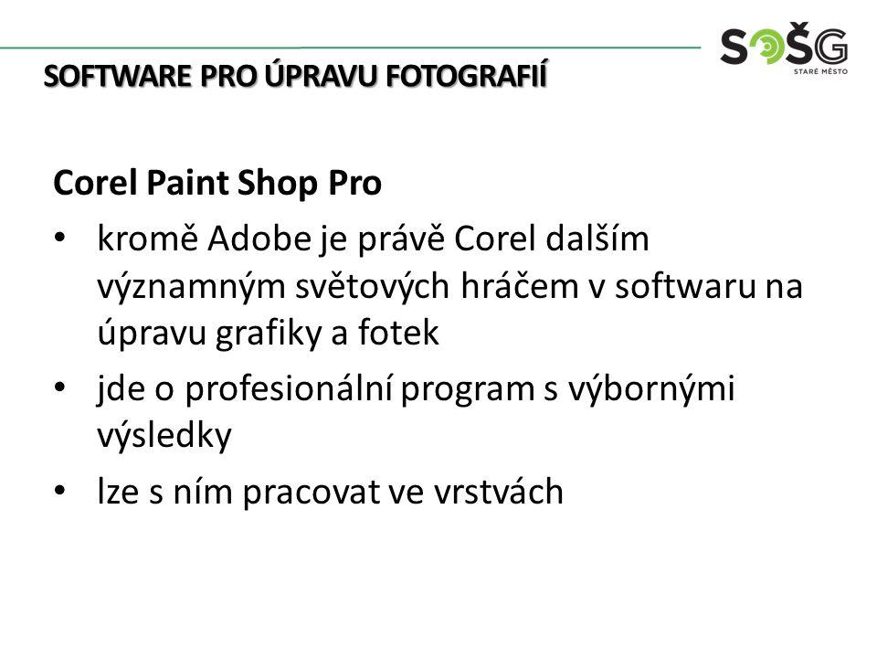 SOFTWARE PRO ÚPRAVU FOTOGRAFIÍ Corel Paint Shop Pro kromě Adobe je právě Corel dalším významným světových hráčem v softwaru na úpravu grafiky a fotek jde o profesionální program s výbornými výsledky lze s ním pracovat ve vrstvách