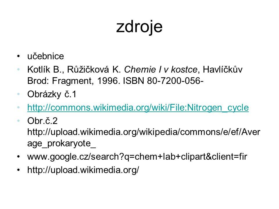 zdroje učebnice Kotlík B., Růžičková K. Chemie I v kostce, Havlíčkův Brod: Fragment, 1996.