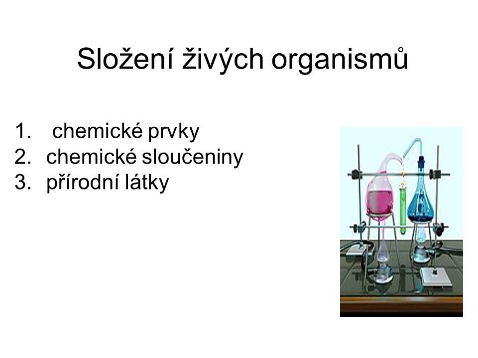 Složení živých organismů 1. chemické prvky 2.chemické sloučeniny 3.přírodní látky