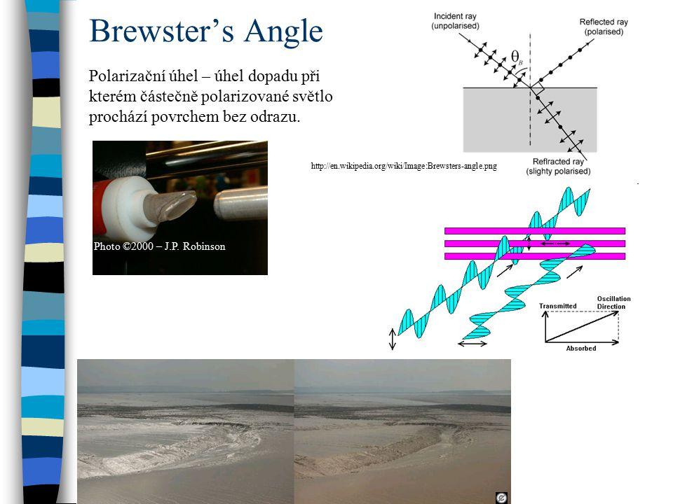 Brewster's Angle Photo ©2000 – J.P. Robinson http://en.wikipedia.org/wiki/Image:Brewsters-angle.png Polarizační úhel – úhel dopadu při kterém částečně