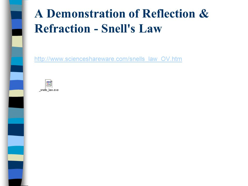 A Demonstration of Reflection & Refraction - Snell's Law http://www.scienceshareware.com/snells_law_OV.htm