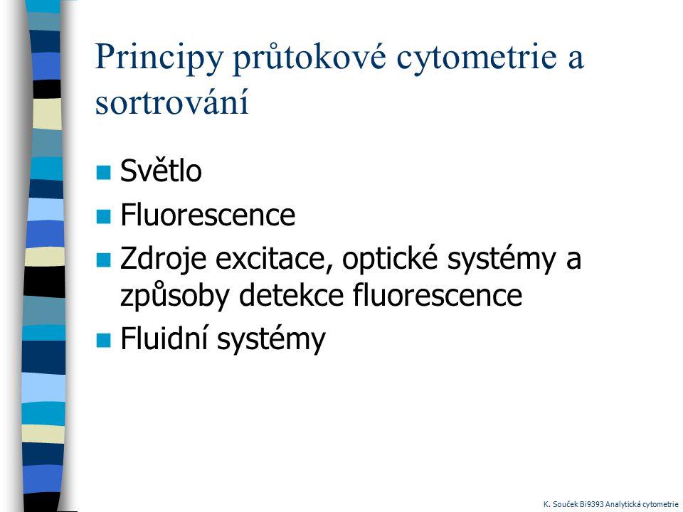 Principy průtokové cytometrie a sortrování Světlo Fluorescence Zdroje excitace, optické systémy a způsoby detekce fluorescence Fluidní systémy K. Souč