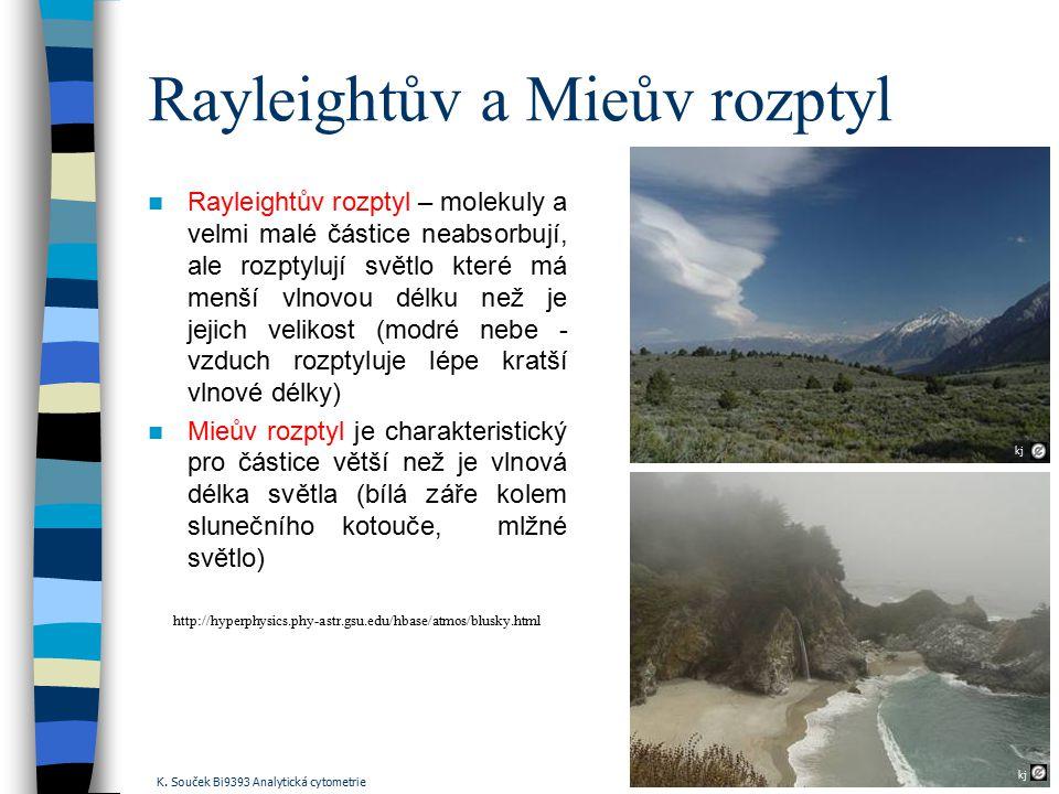 Rayleightův a Mieův rozptyl Rayleightův rozptyl – molekuly a velmi malé částice neabsorbují, ale rozptylují světlo které má menší vlnovou délku než je
