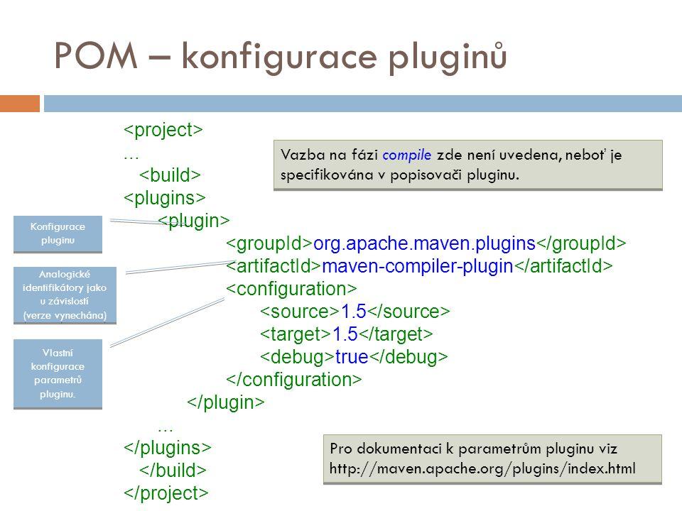 POM – konfigurace pluginů... org.apache.maven.plugins maven-compiler-plugin 1.5 true... Konfigurace pluginu Analogické identifikátory jako u závislost