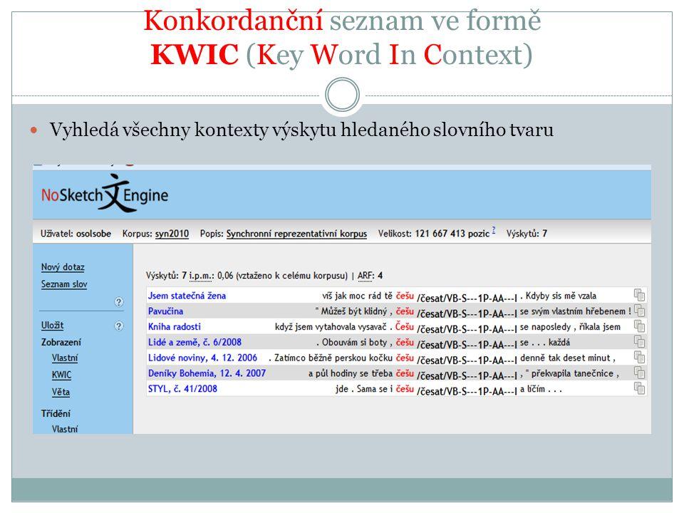 Konkordanční seznam ve formě KWIC (Key Word In Context) Vyhledá všechny kontexty výskytu hledaného slovního tvaru