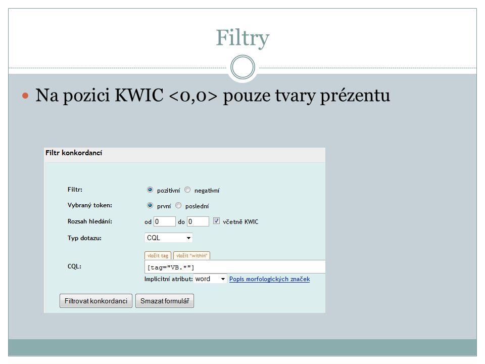 Filtry Na pozici KWIC pouze tvary prézentu