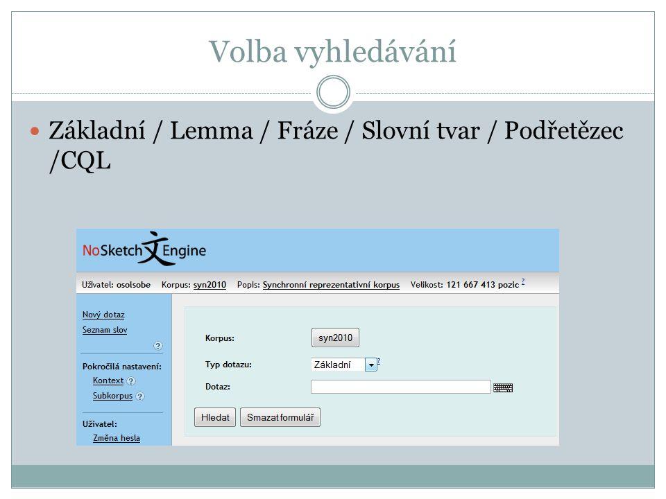 Volba vyhledávání Základní / Lemma / Fráze / Slovní tvar / Podřetězec /CQL