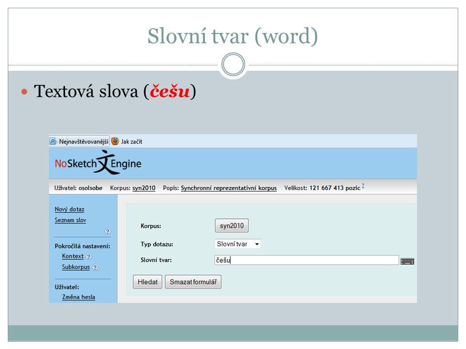 Slovní tvar (word) Textová slova (češu)