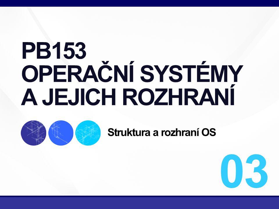 2/43 Správa procesů Správa operační paměti Správa souborů Správa I/O zařízení Správa sekundárních pamětí Správa síťových služeb Ochranný systém Interpret příkazů (shell) KOMPONENTY OS PB 153 OPERAČNÍ SYSTÉMY A JEJICH ROZHRANÍ